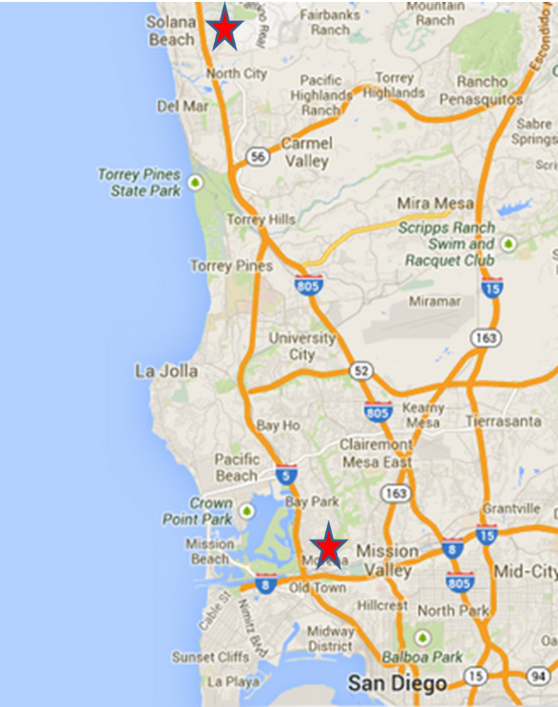 Google Map--San Diego and Solana Beach locations